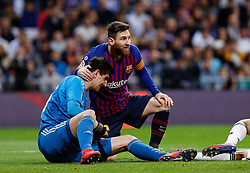 March 2, 2019 - Madrid, Spain - Real Madrid CF's Tibaut Courtois and FC Barcelona's Lionel Messi during La Liga match between Real Madrid and FC Barcelona at Santiago Bernabéu in Madrid..Final Score: Real Madrid 0 - 1 FC Barcelona (Credit Image: © Manu Reino/SOPA Images via ZUMA Wire)