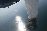 Flying over sea