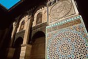 MOROCCO, FEZ Attarine Medersa (Koranic school), 1325AD,  is the best example of Merinid Art; detail  of Koranic inscriptions in tile mosaic