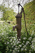 Ancient traditional metal water pump in village green, Condicote, The Cotswolds, Gloucestershire, England