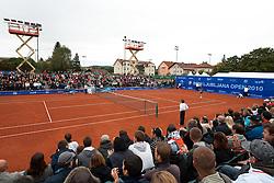 Spectators during  final match Blaz Kavcic of Slovenia vs David Goffin of Belgium during day five of the ATP Challenger  BMW Ljubljana Open 2010, on September 26, 2010,  in TC Ljubljana Siska, Slovenia.  (Photo by Vid Ponikvar / Sportida)
