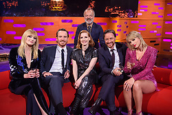 Host Graham Norton with (left to right) Sophie Turner, Michael Fassbender, Jessica Chastain, James McAvoy and Taylor Swift during the filming of the Graham Norton Show at BBC Studioworks 6, Television Centre, Wood Lane, London, to be aired on BBC One on Friday evening.