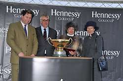 Left to right, JO THORNTON MD Moet Hennessy UK, MAURICE HENNESSY, LADY OAKSEY and HRH The PRINCESS ROYAL at the Hennessy Gold Cup at Newbury Racecourse, Berkshire on 26th November 2011.
