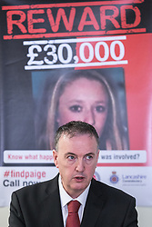 © Licensed to London News Pictures . FILE PICTUDE DATED 15/04/2014 of Lancashire Police and Crime Commissioner CLIVE GRUNSHAW at an appeal for information related to Paige Chivers' murder , as today ( 10th July 2015 ) at Preston Crown Court , Robert Ewing ( 60 of Kincraig Place, Blackpool ) has been convicted of Chivers' murder and Gareth Dewhurst ( 46 of Duncan Avenue, Blackpool ) convicted of disposing of her body . Paige Chivers went missing in August 2007 . Her body has never been recovered . Photo credit : Joel Goodman/LNP