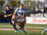 Argentina player Santiago Mare looks for room to run in the Argentina vs Scotland match during the USA Sevens Rugby Series at Sam Boyd Stadium, Las Vegas, USA on 2 March 2018. Picture by Ian  Muir.