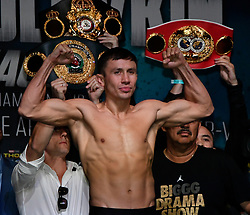 Sept 15,2017. Las Vegas, NV.   (Gennadi Golovkin) GGG weighs in at 160 pounds at todays weigh in at the MGM grand hotel Friday. GGG will be fighting Mexico's  Canelo Alvarez Saturday at the T-Mobile arena for the WBC,WBA,IBF,IBO ring middleweight titles..Photo by Gene Blevins/LA DailyNews/SCNG/ZumaPress. (Credit Image: © Gene Blevins via ZUMA Wire)