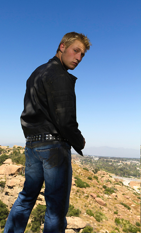 Lucas Wolf showing off his jeans and jacket