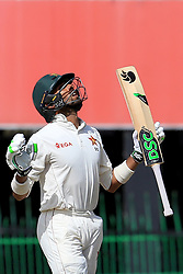 July 16, 2017 - Colombo, Sri Lanka - Zimbabwe's Sikandar Raza looks up to the sky and reacts after scoring fifty runs during the third day's play of the only test cricket match between Sri Lanka and Zimbabwe in Colombo, Sri Lanka, Sunday, July 16, 2017. (Credit Image: © Tharaka Basnayaka/NurPhoto via ZUMA Press)