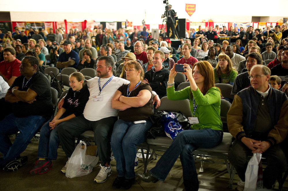 Fans watch the wing eating contest during ZestFest at the Irving Convention Center on Saturday, January 26, 2013 in Irving, Texas. (Cooper Neill/The Dallas Morning News)