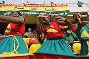 Supporters of the Cameroon national football team dance prior to a game against Ghana during the 2008 Africa Cup of Nations in Accra, Ghana on February 7, 2008.