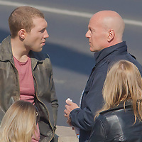 US actor Bruce Willis (R) and Jai Courtney (L) of Australia shooting his next movie fifth in the Die Hard series titled Good Day to Die Hard in Budapest, Hungary on May 19, 2012. ATTILA VOLGYI