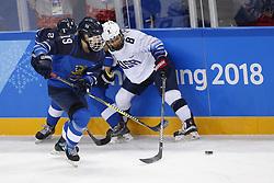 February 11, 2018 - Pyeongchang, KOREA - United States defenseman Emily Pfalzer (8) and Finland forward Petra Nieminen (19) during the women's hockey group A play during the Pyeongchang 2018 Olympic Winter Games at Kwandong Hockey Centre. The USA beat Finland 3-1. (Credit Image: © David McIntyre via ZUMA Wire)