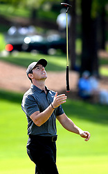 May 3, 2018 - Charlotte, NC, USA - Rory McIlroy tosses his putter into the air on the 18th green during he first round of the Wells Fargo Championship at Quail Hollow Club in Charlotte, N.C., on Thursday, May 3, 2018. (Credit Image: © Jeff Siner/TNS via ZUMA Wire)