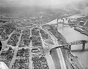 Y-551005-01.  aerial view of the proposed Exposition site (now Memorial Coliseum) between Broadway & Steel Bridges. Looking south. October 5, 1955.