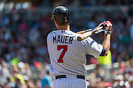Joe Mauer #7 of the Minnesota Twins warms up on-deck against the Seattle Mariners on June 2, 2013 at Target Field in Minneapolis, Minnesota.  The Twins defeated the Mariners 10 to 0.  Photo: Ben Krause