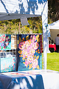 Artist's Paintings on display in beautiful light at Thousand Springs Art Festival at Ritter Island near Hagerman, Idaho.