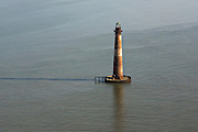 Aerial view of the Morris Island Lighthouse in Charleston, SC.