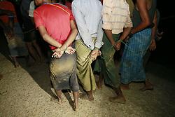 October 3, 2017 - Teknaf, Bangladesh - Bangladesh border guards have arrested boatmen accused of trying to smuggle  Myanmar's Muslim Rohingya minority illegally into Bangladesh by boat at Shah Porir Deep. (Credit Image: © Suvra Kanti Das via ZUMA Wire)