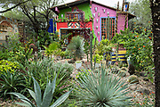 The home and garden of American artist Anado McLauchlin at the Chapel of Jimmy Ray in his art compound Casa las Ranas September 28, 2017 in La Cieneguita, Mexico.
