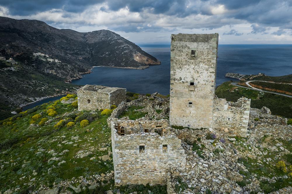 Mani Stone Tower at Cape Matapan, the southern tip of Mani peninsula, Greece