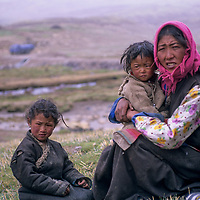 CHINA, TIBET.  Nomadic herding family in a snowstorm south of Lhasa.