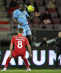 Alhaji Kamara (Randers FC) under kampen i 3F Superligaen mellem FC Nordsjælland og Randers FC den 19. oktober 2020 i Right to Dream Park, Farum (Foto: Claus Birch).