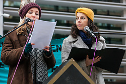London, UK. 11th February, 2019. Speakers from Actors for Human Rights read detainees' testimony to campaigners against immigration deportations and the Government's hostile environment staging a 'People's Trial of the Home Office'.