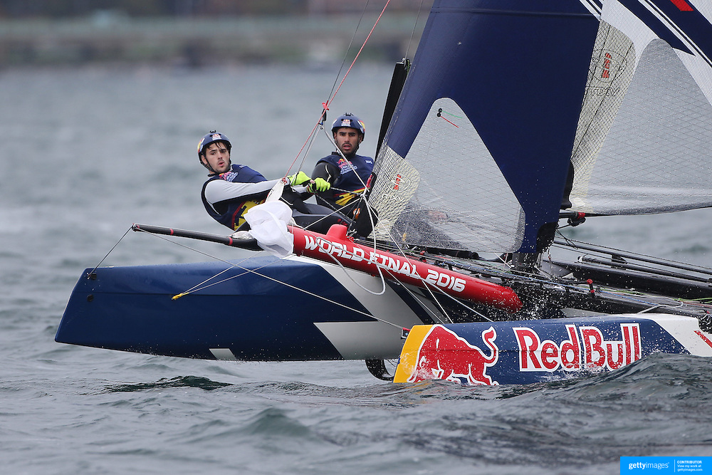 NEWPORT, RHODE ISLAND- OCTOBER 22:  The Spanish team of Nil Das Romero and Jordi Llena Prats in action during the Red Bull Foiling Generation World Final 2016 on October 22, 2016 in Narragansett Bay, Newport, Rhode Island. (Photo by Tim Clayton/Corbis via Getty Images)