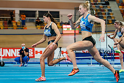 Zoe Sedney, Anouk Vetter in action on the 60 meter hurdles during AA Drink Dutch Athletics Championship Indoor on 21 February 2021 in Apeldoorn.