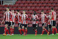 Southampton Olufela Olomola celebrates his goal 2-0 during the Barclays U21 Premier League match between U21 Southampton and U21 Manchester United at the St Mary's Stadium, Southampton, England on 25 April 2016. Photo by Phil Duncan.