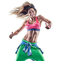 one caucasian woman zumba dancers dancing fitness exercising exercises in studio isolated on white background