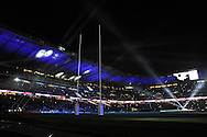 a general view of the stadium as the lights go on and off ahead of k/o. Rugby World Cup 2015 pool A match, England v Wales at Twickenham Stadium in London, England  on Saturday 26th September 2015.<br /> pic by  Andrew Orchard, Andrew Orchard sports photography.