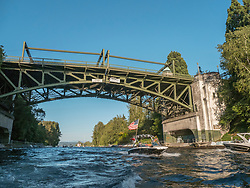 United States, Washington, Seattle, boat in Montlake Cut under Montlake Bridge