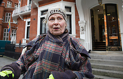 © Licensed to London News Pictures. 04/02/2016. London, UK. Dame Vivienne Westwood arrives at the Ecuador embassy in London where WikiLeaks founder Julian Assange is currently living.  A United Nations panel is due to decide if Julian Assange has been kept in 'unlawful detention' during his stay at the embassy for the past three-and-a-half-years. Photo credit: Peter Macdiarmid/LNP