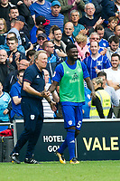 Football - 2017 / 2018 Championship - Cardiff City vs. Aston Villa<br /> <br /> <br /> Cardiff City manager Neil Warnock celebrates with Bruno Ecuele Manga of Cardiff City after his team win 3-0, at Cardiff City Stadium<br /> <br /> COLORSPORT/WINSTON BYNORTH