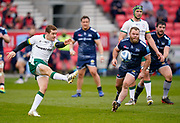 London Irish Fly-half Paddy Jackson clears the ball during a Gallagher Premiership Round 14 Rugby Union match, Sunday, Mar 21, 2021, in Eccles, United Kingdom. (Steve Flynn/Image of Sport)