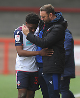 Football - 2020 / 2021 Sky Bet League Two - Crawley Town vs Bolton Wanderers - The People's Pension Stadium<br /> <br /> Bolton Manager, Ian Evatt congratulates  Dapo Afolayan after getting promotion<br /> <br /> Credit : COLORSPORT/ANDRTEW COWIE