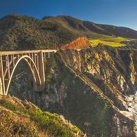 Bixby Bridge and sea cliffs along Highway 1, Big Sur Coast, California.