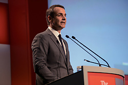 June 28, 2017 - Athens, Attiki, Greece - Kyriakos Mitsotakis leader of the main opposition and president of New Democracy party during his speech for the 21st Roundtable with the Government of Greece of the Economist. (Credit Image: © Dimitrios Karvountzis/Pacific Press via ZUMA Wire)