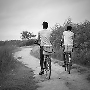 Vaccine carried on bicycle on the flood plains of the Kosi river near Kusheshwar Asthan east, Bihar