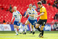 Tranmere Rovers midfielder David Perkins (17), Tranmere Rovers defender Sid Nelson (4), Newport County forward Padraig Amond (9) during the EFL Sky Bet League 2 Play Off Final match between Newport County and Tranmere Rovers at Wembley Stadium, London, England on 25 May 2019.