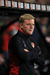 """AFC Bournemouth manager Eddie Howe during the Premier League match at the Vitality Stadium, Bournemouth. PRESS ASSOCIATION Photo. Picture date: Friday September 15, 2017. See PA story SOCCER Bournemouth. Photo credit should read: John Walton/PA Wire. RESTRICTIONS: EDITORIAL USE ONLY No use with unauthorised audio, video, data, fixture lists, club/league logos or """"live"""" services. Online in-match use limited to 75 images, no video emulation. No use in betting, games or single club/league/player publications."""