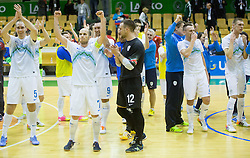 Kristjan Cujec, Igor Osredkar of Slovenia celebrates after winning during  futsal match between National Teams of Czech republic and Slovenia in Group 5 of UEFA Futsal EURO 2016 Qualifying Main Round, on March 21, 2015 in Arena Tri Lilije, Lasko, Slovenia. Photo by Vid Ponikvar