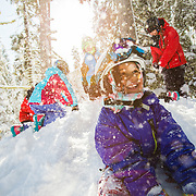 Dylan Parker, Samantha and Jordan Ebright, and Serina and Lillia Verduzco in Snowboard School at Sierra-at-Tahoe.  Shot for Visit California.