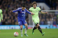 Pedro of Chelsea is challenged by Aleix Garcia of Manchester City. The Emirates FA Cup, 5th round match, Chelsea v Manchester city at Stamford Bridge in London on Sunday 21st Feb 2016.<br /> pic by John Patrick Fletcher, Andrew Orchard sports photography.