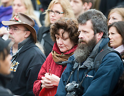 © London News Pictures. 11/11/2011. London, UK. Service men and women join the public in taking part in a 2 minute silence at a Remembrance day ceremony at Trafalgar Square, London today (11/11/2011) . Photo Credit : Ben Cawthra/LNP