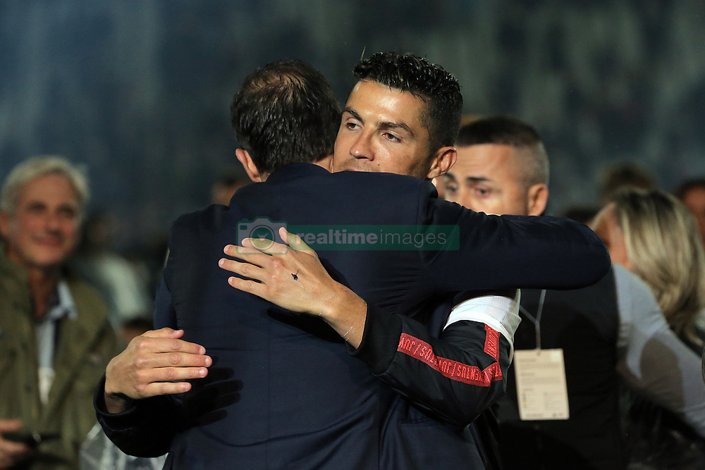 May 19, 2019 - Turin, Turin, Italy - Cristiano Ronaldo #7 of Juventus FC and head coach of Juventus FC Massimiliano Allegri at the end of the serie A match between Juventus FC and Atalanta BC at Allianz Stadium on May 19, 2019 in Turin, Italy. (Credit Image: © Giuseppe Cottini/NurPhoto via ZUMA Press)