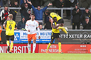 Burton Albion forward Lucas Akins (10) scores a goal and celebrates 2-1 during the EFL Sky Bet League 1 match between Burton Albion and Luton Town at the Pirelli Stadium, Burton upon Trent, England on 27 April 2019.