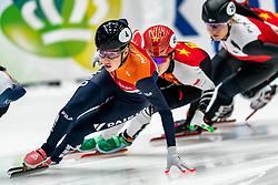 Lara van Ruijven in action on the 1000 meter during ISU World Cup Finals Shorttrack 2020 on February 15, 2020 in Optisport Sportboulevard Dordrecht.