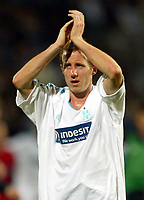 Photo: Scott Heavey, Digitalsport<br /> NORWAY ONLY<br /> <br /> Olimpique Marseille v Newcastle United. UEFA Cup Semi Final, Second Leg. 06/05/2004.<br /> A dejected Lee Bowyer sheds a tear